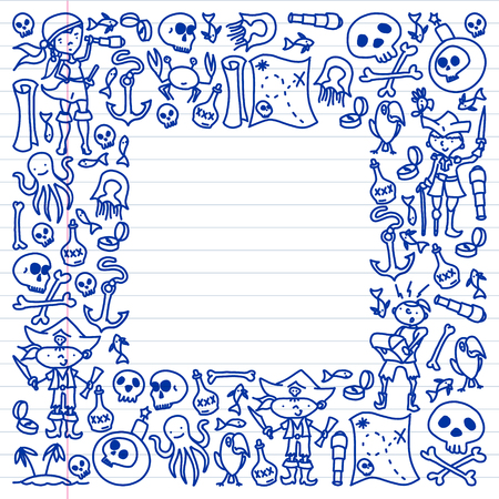 Vector set of pirates children's drawings icons in doodle style. Painted, colorful, pictures on a piece of linear paper on white background Vektoros illusztráció