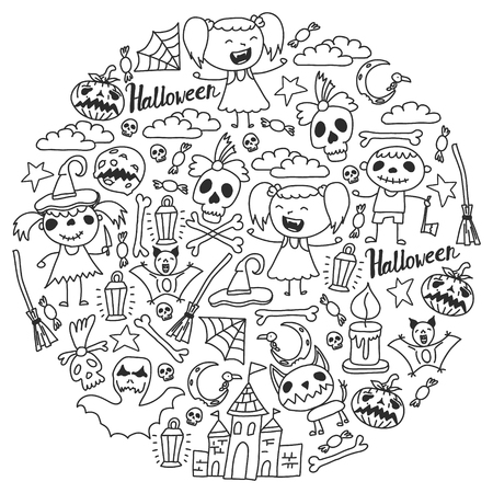 Halloween themed doodle set. Traditional and popular symbols - carved pumpkin, party costumes, witches, ghosts, monsters, vampires, skeletons, skulls, candles bats Isolated over white background
