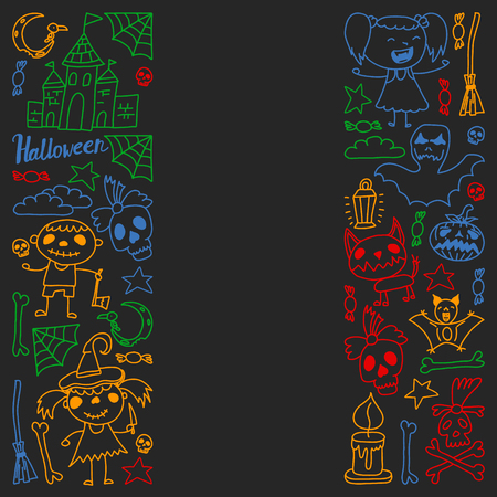Halloween themed doodle set. Traditional and popular symbols - carved pumpkin, party costumes, witches, ghosts, monsters, vampires, skeletons, skulls, candles bats Isolated over black background