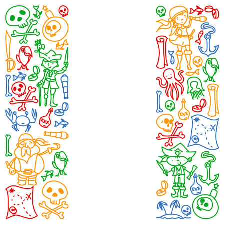 Vector set of pirates children's drawings icons in doodle style. Painted, colorful, pictures on a piece of paper on white background