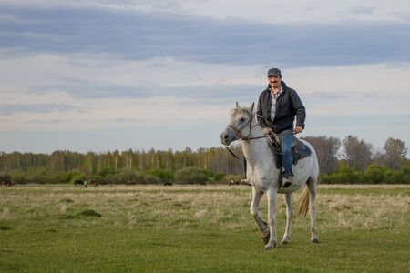 A rider on a white horse in the field
