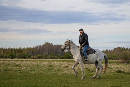 A rider on a white horse in the field Foto de archivo - 127676473