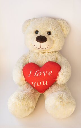 Cute teddy beige bear sitting on a white background. He holds a big red heart with the text. I love you Imagens