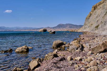 Rocky coast of Cape Meganom. Black Sea, Crimea peninsula. Stock Photo