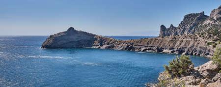 Coastal seascape landscape, cape Kapchik, Golitsyn trail. Crimean peninsula. National botanical reserve New World. Banner Zdjęcie Seryjne