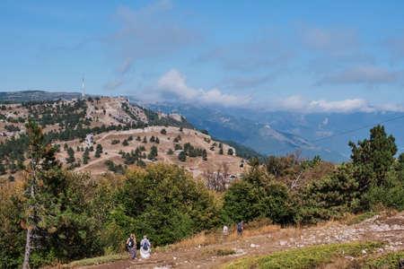 Beautiful mountain landscape of the southern Crimea. Walking along the high-mountainous plateau Ai Petri.