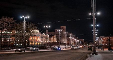 Yekaterinburg, Russia. Lenin Avenue, historical building Sevastyanov House with evening illumination.