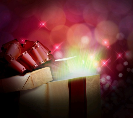 hope: magical light from a gift box
