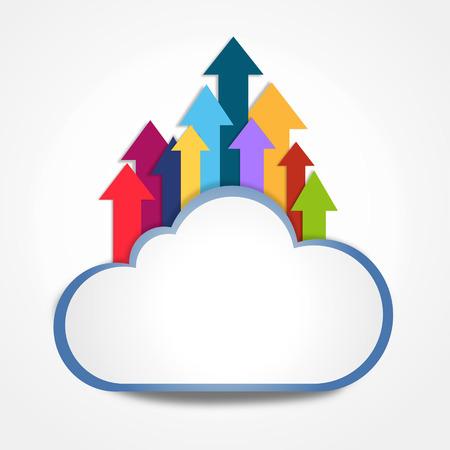 uploading: uploading to internet cloud Stock Photo