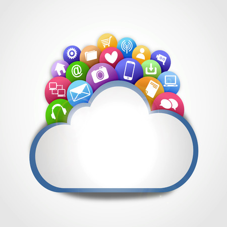 internet cloud with icons