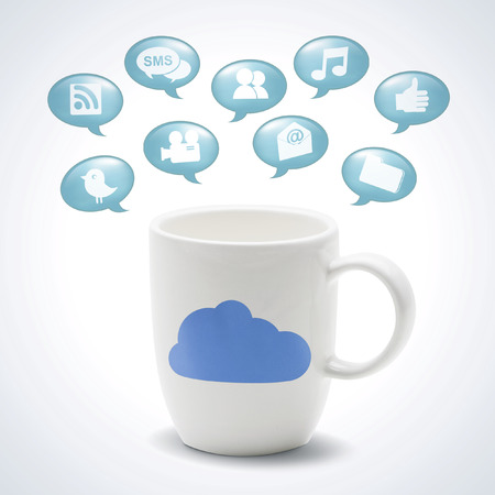 mug with cloud icon internet Stock Photo