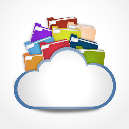 Internet cloud with files photo