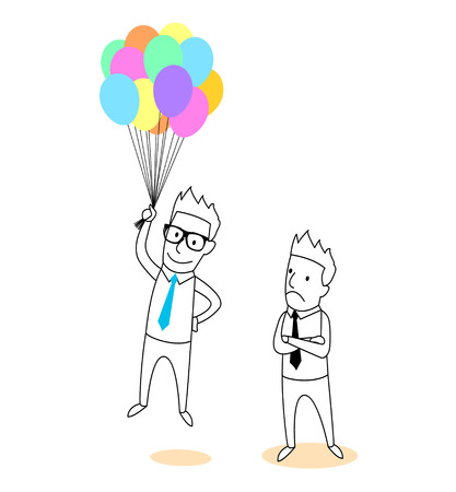 meaningful: holding a balloons cartoon