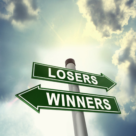 losers: Winner or loser signboard Stock Photo