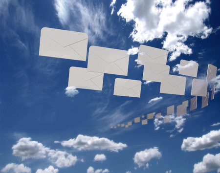 letter envelopes: Flying mail Stock Photo