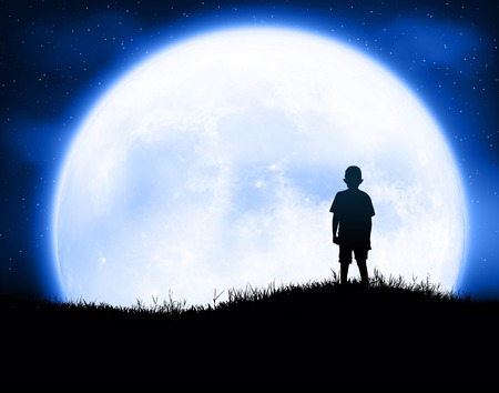kid with moon