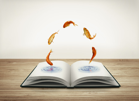 Open book with goldfish