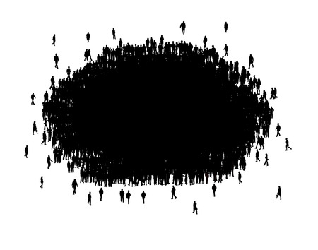 all in one: All people in one group silhouette