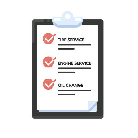 Checklist auto-onderhoud. Lijstpictogram. Vector flat illustratie op een witte achtergrond.