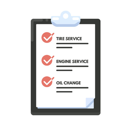 check icon: Checklist car maintenance. List icon. Vector flat illustration isolated on white background.