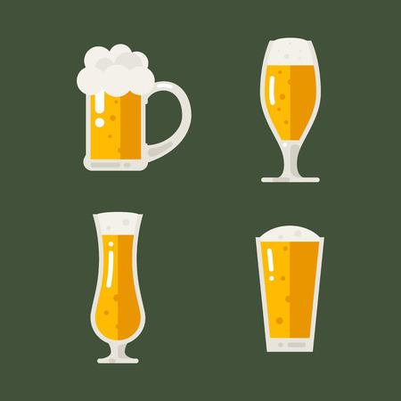 pint: Vector set of beer icons. Beer bottle, glass, pint. Oktoberfest beer vector set. Flat illustration.
