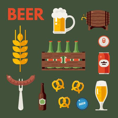 wooden crate: Beer bottle, glass and cups. Wooden barrel, wooden crate with bottles. Beer snacks. Set of vector beer icons, signs, symbols, design elements. Oktoberfest beer vector set. Flat vector illustration. Illustration