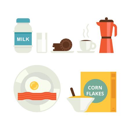 L'ensemble des icônes petit vecteur. Lait, biscuits, flocons de maïs, du café et des ?ufs au bacon Vecteurs