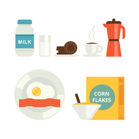 corne: The set of breakfast vector icons. Milk, cookies, corn flakes, coffee and egg with bacon