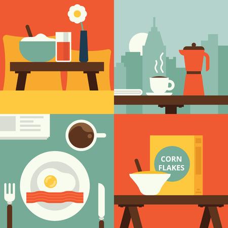 breakfast in bed: Set of breakfast illustrations. Vector flat illustration Illustration