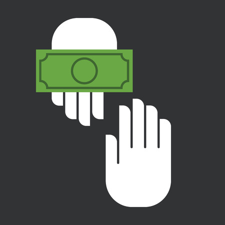 receiving: Hands giving and receiving money. Vector illustration. Flat design style