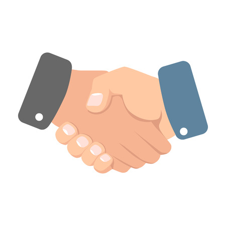 Handshake vector illustration. Two business partners agreed a deal and doing handshaking