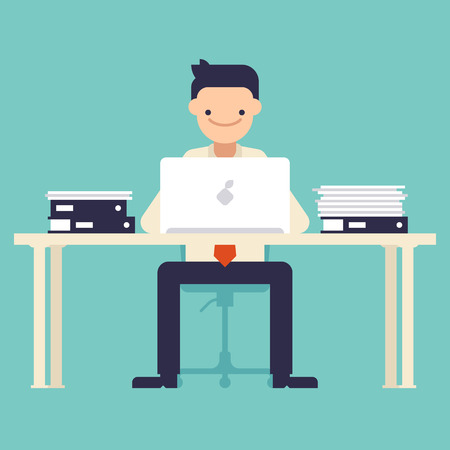 office computer: Office worker sitting at the table and working on the computer. Vector illustration