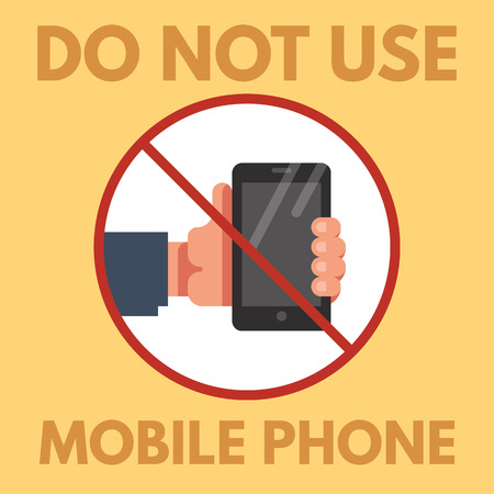 cell phones not allowed: Do not use mobile phone sign. No mobile phone icon. No cell phone symbol. Vector flat illustration.