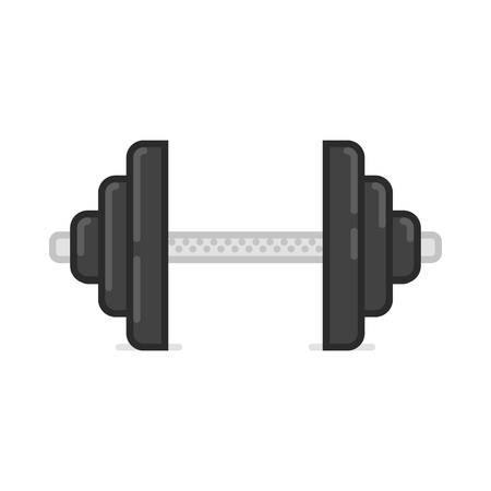weightlifting equipment: Dumbbell vector icon. Gym icon. Bodybuilding and weightlifting sport gym equipment. Flat illustration.