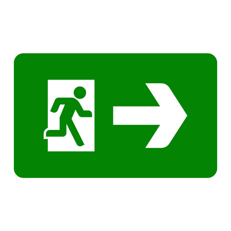 Emergency exit sign. Vector flat illustration