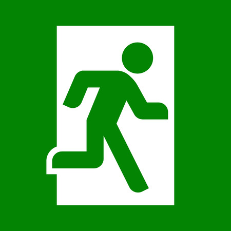Emergency exit sign. Vector flat illustration Illustration