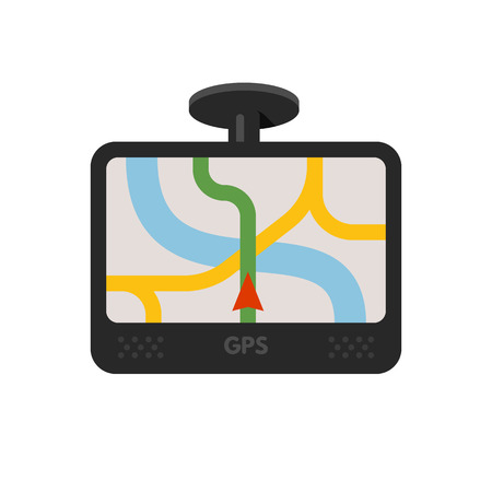 gps device: Car navigator device. Mobile gps navigation. Navigation system. Vector flat illustration isolated on white background.