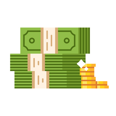 piles: Dollar piles with gold dollar coins. Vector flat illustration isolated on white background.