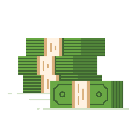 pile: Stack of dollars. Big pile of cash. Flat vector illustration.