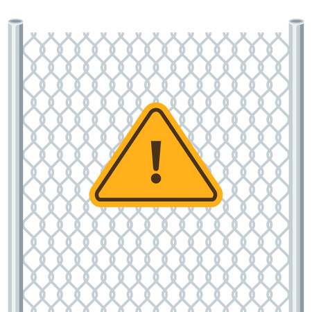 link fence: Hazard warning attention sign. Chain link fence. Attention symbol. Vector illustration