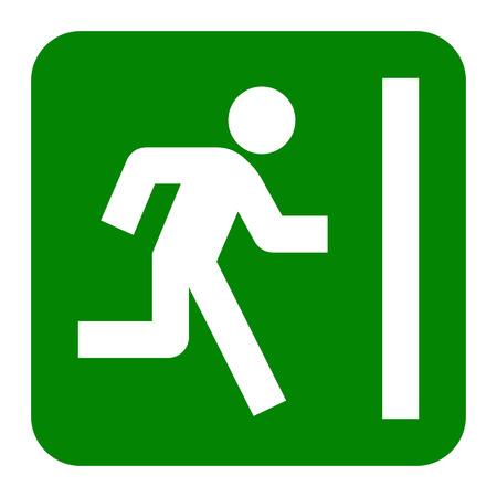 green exit emergency sign: Emergency exit sign. Vector flat illustration Illustration