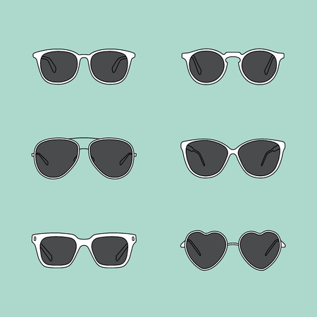 eyewear fashion: Set of glasses. Retro, wayfarer, aviator frames. Vector illustration