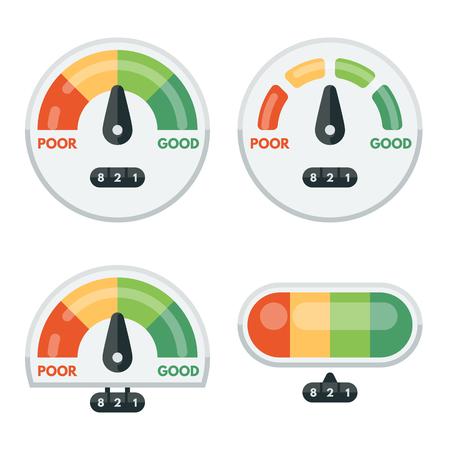 Set of credit score indicators and gauges. Measurement level, display pressure, minimum and maximum illustration. Vector flat illustration.