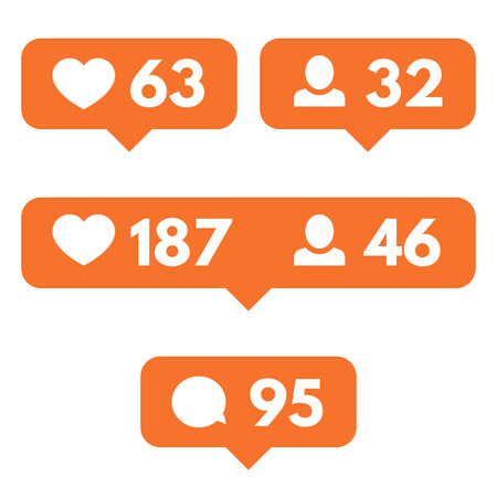 follower: Heart, follower, comment. Vector flat icons