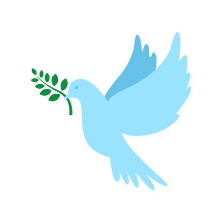 heaven and earth: Dove of peace and olive branch. International Peace Day. Vector illustration.