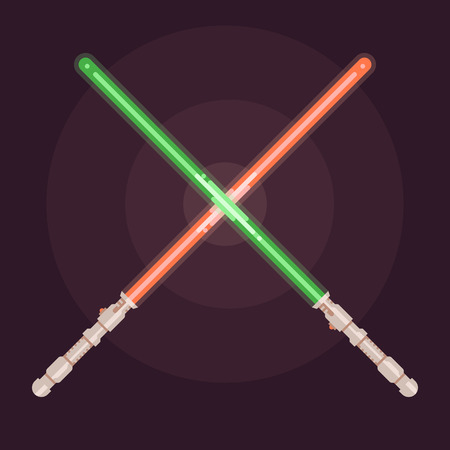 laser beam: Realistic bright colorful laser beam. Light swords. Weapon futuristic. Vector illustration. Flat design style Illustration