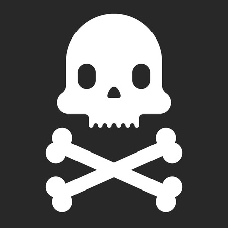health threat: Cartoon skull icon. Halloween design element. Pirate flag. Vector flat illustration.