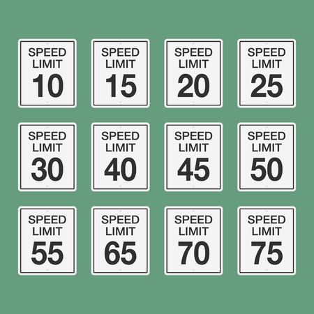 Road speed limit signs from fifteen to seventy-five. Vector flat illustration.
