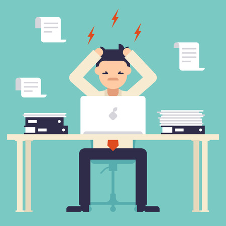 busy person: A lot of work. Stress at work. Busy time of businessman in hard working. Man tearing his hair out. New job stress work. Vector illustration. Flat design style. Illustration