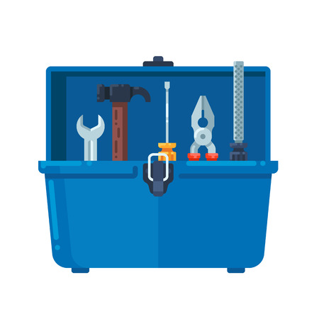 rasp: Toolbox full of equipment. Vector flat illustration isolated on white background. Illustration